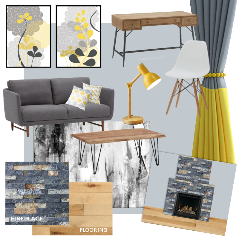 Yellow & Gray Home Office Inspiration